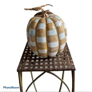 Large Hand painted Checked Pumpkin